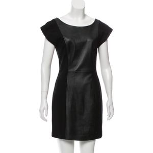 Alice and Olivia Black Leather Backless Dress